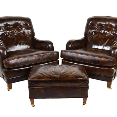 Pair Mid Century Loeblein Leather Club Lounge Chairs Armchairs with Ottoman by PrairielandArt
