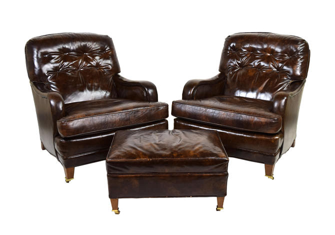 Pair Mid Century Loeblein Leather Club Lounge Chairs Armchairs with Ottoman by PrairielandArt
