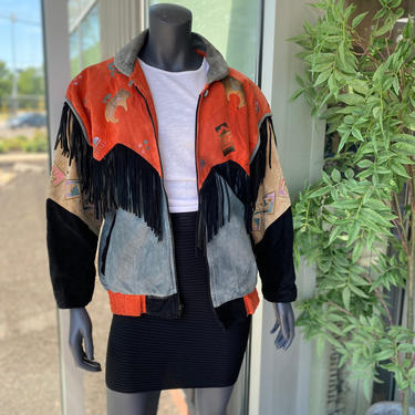 CHAR Santa Fe Vintage 1980s Genuine Leather Suede Fringe Jacket with Metallic Southwest Animal Geometric Print - Size Small - Unisex by AIDSActionCommittee