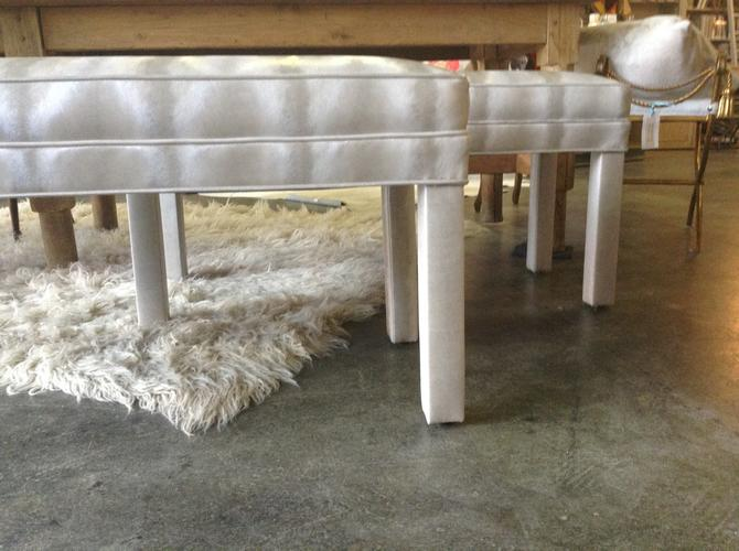 SOLD - Pair of vinyl upholstered benches