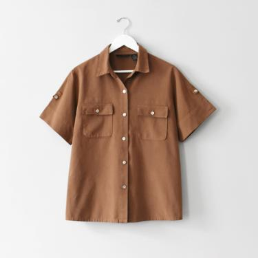 vintage 90s cotton button down shirt, brown blouse, size M by ImprovGoods