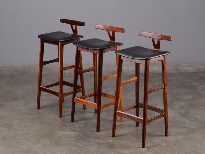 Set of 3 Rosewood Barstools Dyrlund Mid-Century Danish Modern by MadsenModern