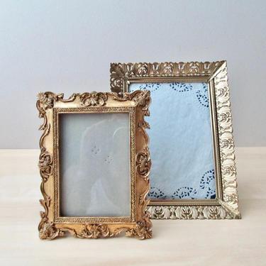 vintage gold filigree picture frames - vintage metal photo frame 5 x 7 by ionesAttic