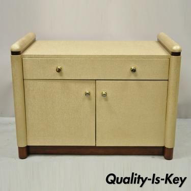 Ernest C Masi Gold Raffia Art Deco Style Bedside Cabinet Table Nightstand Chest