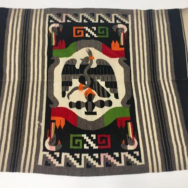Hand woven wool Mexican rug or blanket by PeachModern