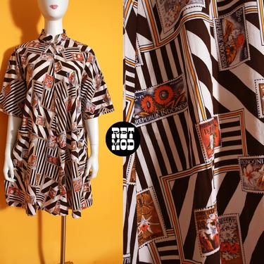 WOW So Cool Vintage 60s 70s Brown Stripe Postage Stamp Travel Novelty Print Cover-Up House Dress by RETMOD