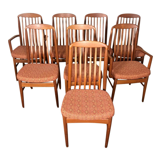 Set of 8 Mid Century Modern Danish Teak Dining Chairs by Benny Linden Slat Back by RetroPassion21
