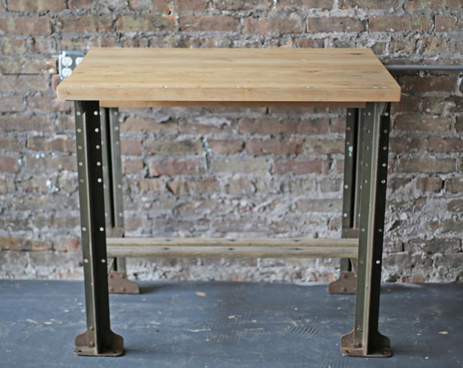 upcycled vintage industrial work table: restored old workbench butcher block on Lyons Industrial legs by jeglova