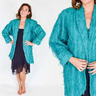 1980s Turquoise Cotton Oversized Jacket   80s Green Fringe Cotton Coat   Car Pool   Large by GlennasVintageShop