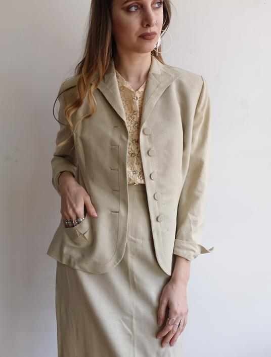 Vintage 40s Oatmeal Linen Suit/ 1940s Skirt and Jacket Set/ Summer Spring Taupe/Wedding Bridal/ Size Small by bottleofbread