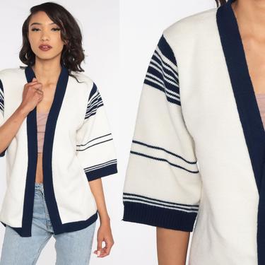 Bohemian Cardigan Striped Wrap Sweater 70s White Blue Boho Vintage Hippie 1970s Short Sleeve Open Front Medium by ShopExile