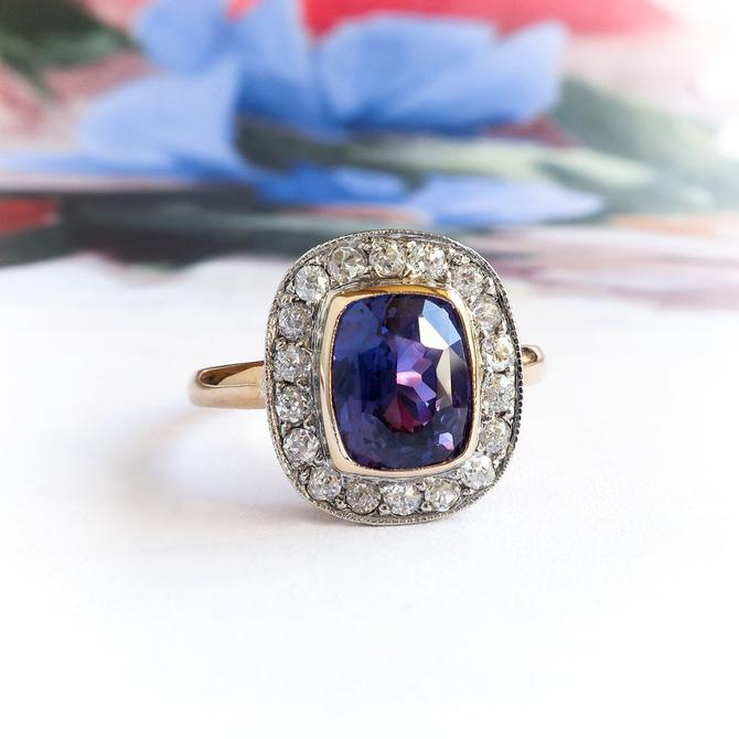 Cushion Cut Purple Sapphire and Diamond Halo Ring 18k Gold and Platinum by YourJewelryFinder