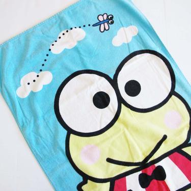 Vintage 90s Sanrio Keroppi Beach Towel - 1999 Keropi Frog Terry Cloth Pool Towel - 90s Girl Nostalgia - Hello Kitty - Best Friend Gift by MILKTEETHS