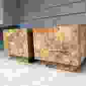 Milo Baughman Style Burl Patchwork Cube Tables