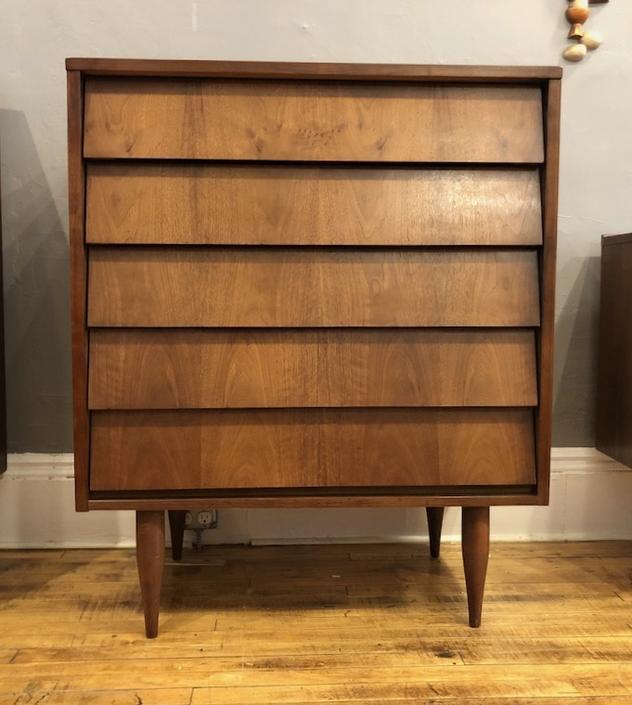 Mid Century Tallboy Dresser in Walnut 1950's