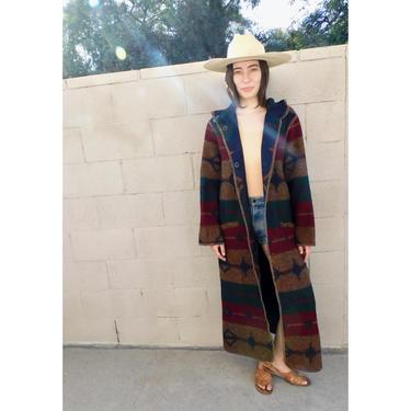 Reversible Woolrich Coat // wool boho hippie blanket dress jacket southwest southwestern 70s 80s hood // S/M by FenixVintage