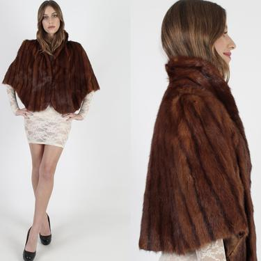 40s 50s Red Mink Stole Real Striped Mink Fur Cape Vintage 1950s Deco Style Mid Century Mother OF The Bride Party Wedding Bridesmaid Bolero by americanarchive