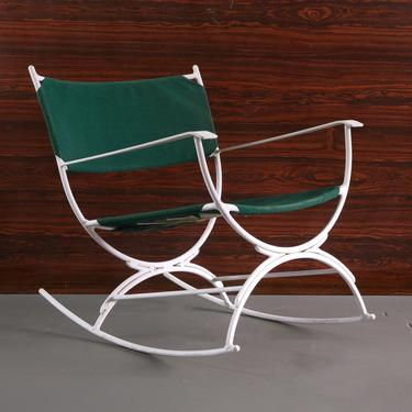 Gorgeous Mid Century Modern Rocking Lounge Chair in Green Canvas and White Metal by ABTModern