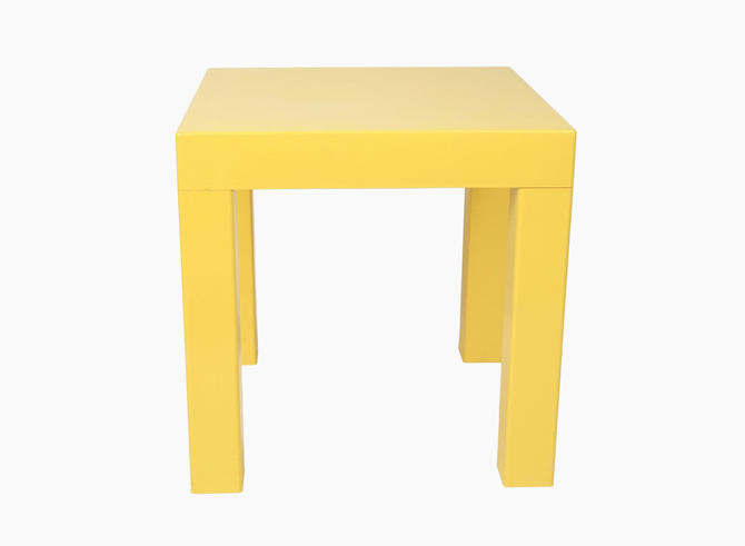 Kartell Style Plastic Table Yellow Color Parsons Era Square Shaped Cube Vintage By Vintageinquisitor