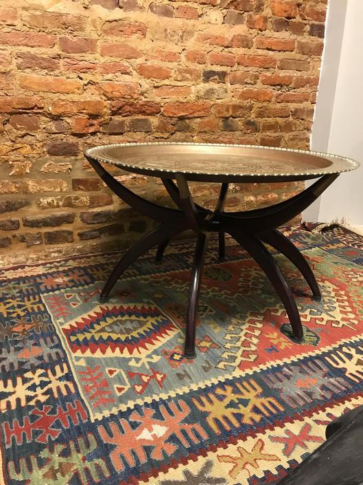 Asian Brass Tray Spider Legs Folding Coffee Table by UrbanInteriorsBalt
