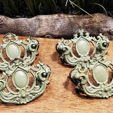 Shabby chic cast iron drawer pulls, green distressed handles, antique victorian style swing handles by FarmhouseNook