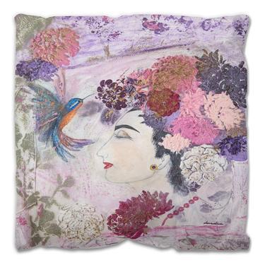 Floral Hummingbirds Roses Decorative Outdoor Pillow ~ Nature Floral Pillows ~ Floral Outdoor Pillow ~ Garden Flowers Birds ~ Women's Art by DareToBeVintage