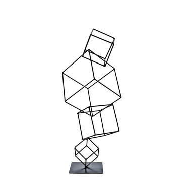 Hand Welded Metal Cubes Table Sculpture by MarquisModern