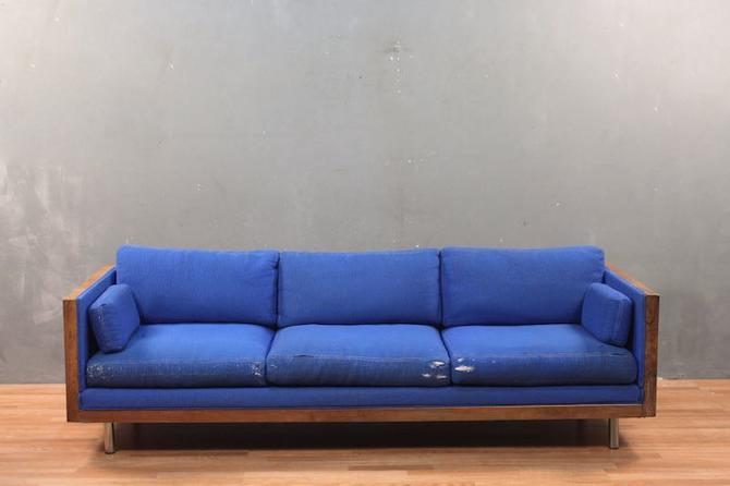 Charlton Mid Century Walnut & Blue Sofa – ONLINE ONLY