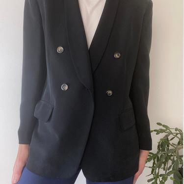 vintage black silk blazer size medium by miragevintageseattle