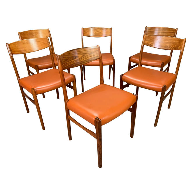 Set of Six Vintage Danish Mid Century Modern Rosewood and Leather Dining Chairs by AymerickModern