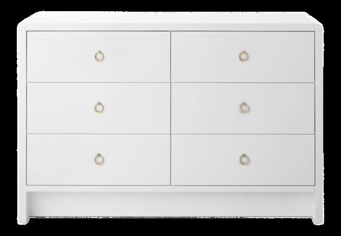 Bungalow 5 White Grasscloth Finished Large 6-Drawer Bryant Dresser