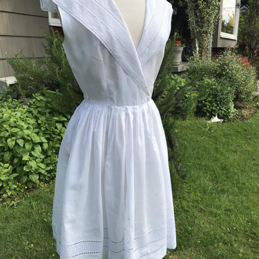 """50's White Lacy fit & flare cotton frock ~ vintage dress~ semi-sheer~ eyelet lace~ pleated spring dress~ sailor collar feminine sweet~ 27"""" W by HattiesVintagePDX"""