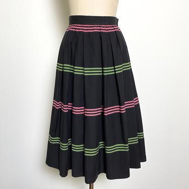 Vintage 1950s 1940s Skirt Full Cotton Black Pink and Green by littlestarsvintage
