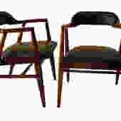 Pair Mid Century Modern Leather Side Chairs by Marykaysfurniture