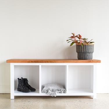Entryway Bench With Storage Cubbies / Reclaimed Wood Bench by wwmake