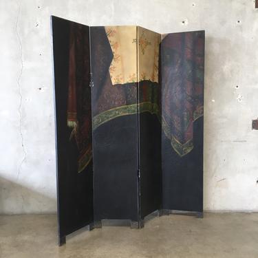 Vintage Four Panel Room Divider Folding Screen