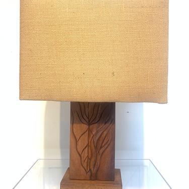 Carved Monkey Pod  Hawaiian Table Lamp. c 1940s Tiki Hawaiiana Mid Century Tropical Chic by XcapeVintage