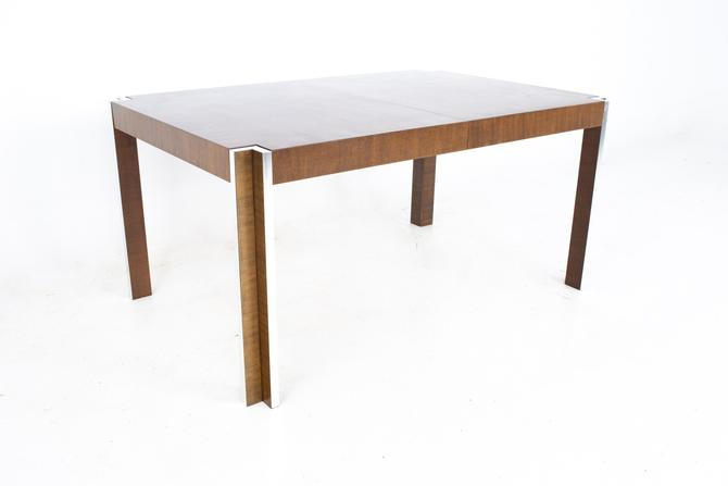 Thomasville Mid Century Walnut and Chrome Inlaid Expanding Dining Table - mcm by ModernHill