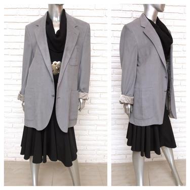 Vintage 70's Lanvin Paris Menswear Womens Oversized Blazer Gray Faux Suede Boyfriend Jacket XL SPorts Coat by TheUnapologeticSoul