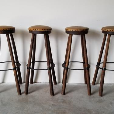 Mid-Century Handmade Wood and Leather Seats Bar Stools - Set of 4 by MIAMIVINTAGEDECOR