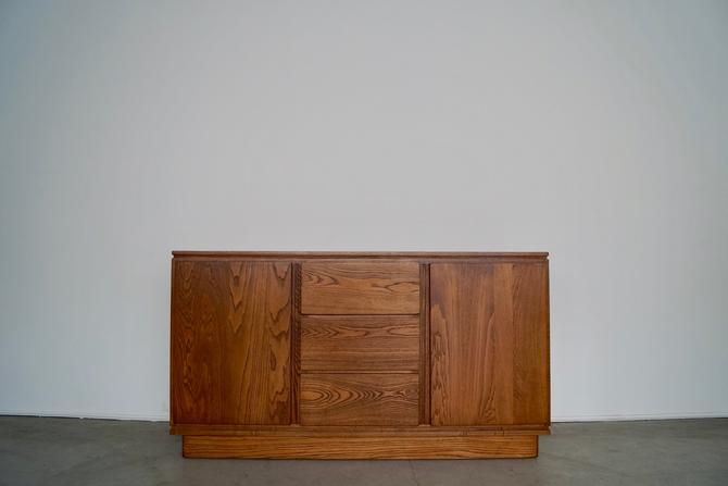 Gorgeous Mid-century Modern / Art Deco Sideboard Buffet in Solid Ash Professionally Refinished in Walnut! by CyclicFurniture
