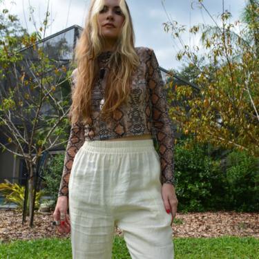 Vintage linen trousers / vintage linen pants / cream linen trousers / cream linen pants / linen bottoms / high rise linen pants / linen by memoryjunkievintage