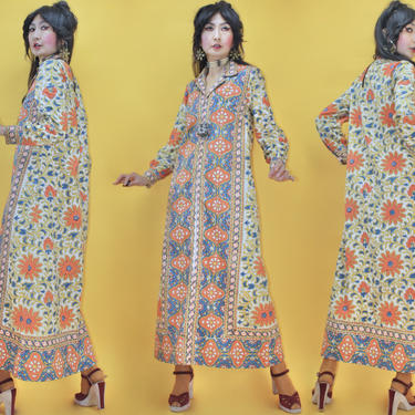 Vintage 1960s 1970s I Magnin Indian Cotton Flower Block Print Caftan Dress / SZ M / 60s 70s Wearable Art Woodstock Festival Hippie Boho Folk by TheeAppleBoutique