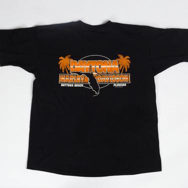 Vintage 1994 Daytona Beach Harley Davidson T Shirt - Extra Large   90s Unisex Black Florida Motorcycle Graphic Souvenir Tee by FlyingAppleVintage