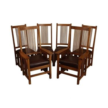 Mission Arts and Crafts Stickley style Spindle 6 PC Dining Chair Set by DaleMartinFurniture