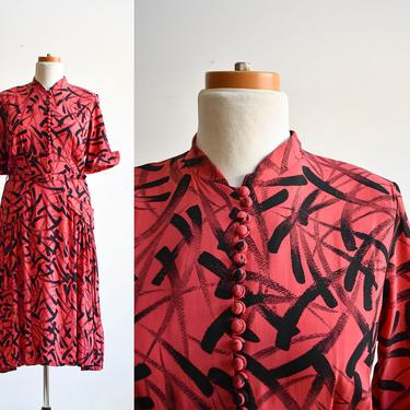 1940s Red & Black Cocktail Dress with belt by milkandice