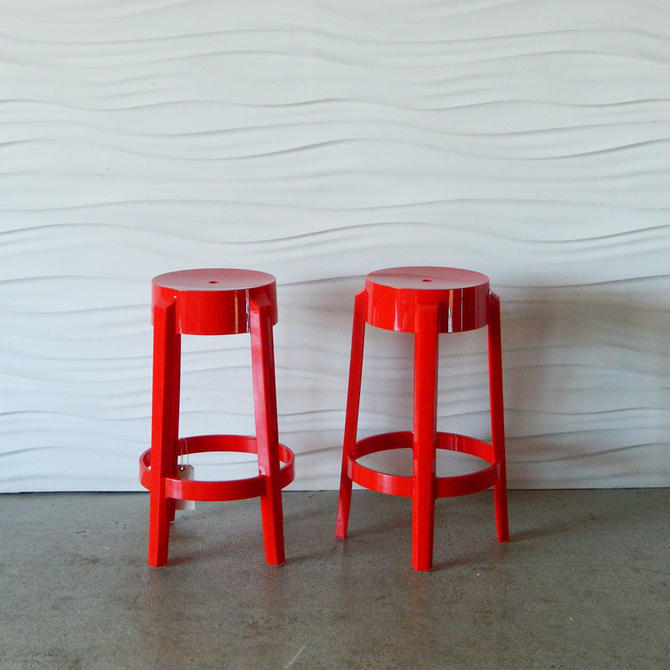 Excellent Ha 18179 Kartell 26 Charles Ghost Matte Red Stools From Andrewgaddart Wooden Chair Designs For Living Room Andrewgaddartcom