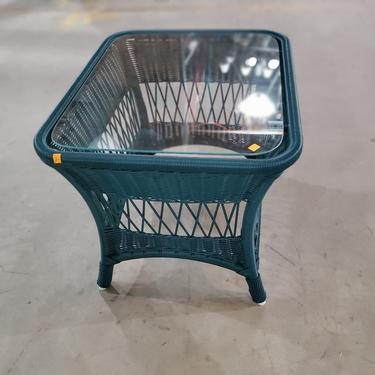 Green All-Weather Wicker Side Table