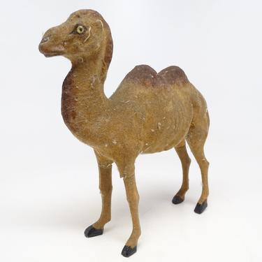 Antique German Camel Toy,  Vintage Flocked Composite and Wooden Stick Legs, for Christmas Nativity Putz by exploremag