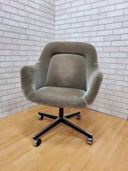 Mid Century Max Pearson Designed Plush Sage Mohair Upholstered Desk Chair for Knoll